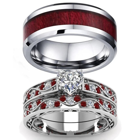 Royal Heart Red & White Wood Stainless Ring Set