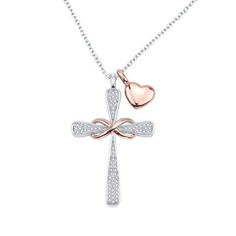 Bejeweled Cross Infinity Heart Charm Stainless Steel Necklace
