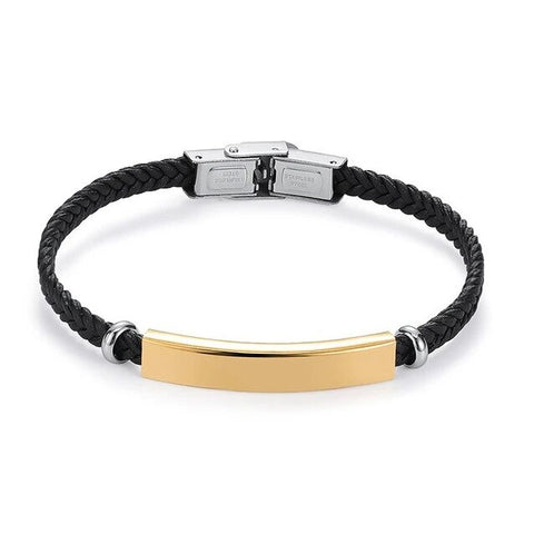 Customize Gold Steel Plated Braided Leather Bracelet