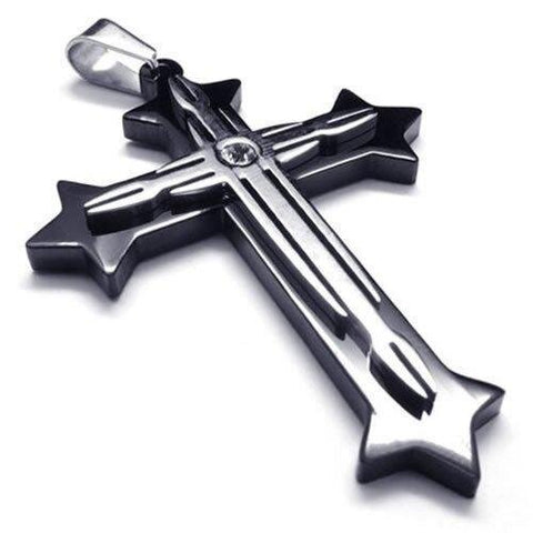 Black and Silver Modern Design Cross Necklace