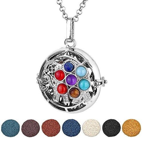 Antique Silver Chakra OM Symbol Locket Pendant Aromatherapy Diffuser Necklace