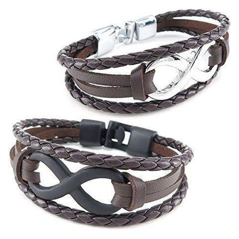 Unisex Two Piece Set Infinity Brown Black Silver Leather Bracelet