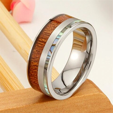 Silver Vintage Tungsten with Shell and Koa Wood Ring