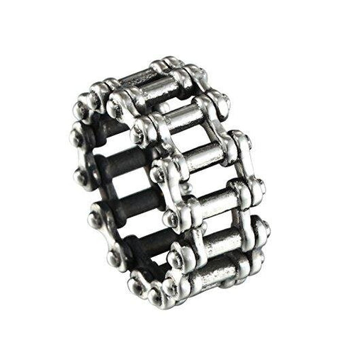Men's Silver Stainless Steel Motorcycle Chain Link Promise Ring