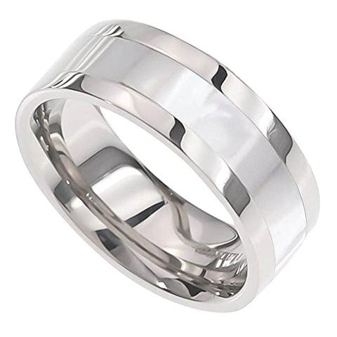 Mother of Pearl Inlay Titanium Wedding Band For Men