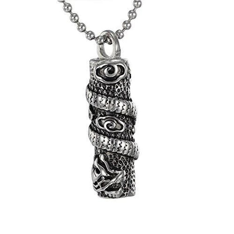 Stainless Steel Vintage Wind Dragon Cylinder Pendant Necklace
