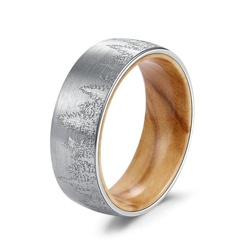 Pine Forest Brushed Silver Tungsten Carbide Wood Ring