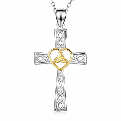 Silver & Gold Infinity Heart Cross Knot Necklace