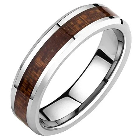 Silver Tungsten Beveled Edge and Wood Inlay Wedding Band