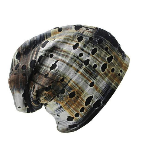 Tattered Design Polyester Slouch Beanie (4 Available Color)