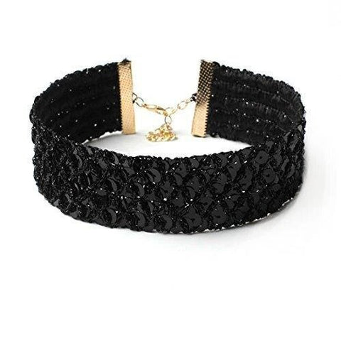 Black Sequin Fashion Choker Necklace