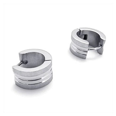 Men's Silver Stainless Steel Hoop Stud Earrings
