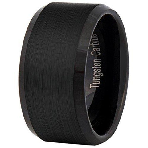 12mm Black Tungsten Carbide Ring