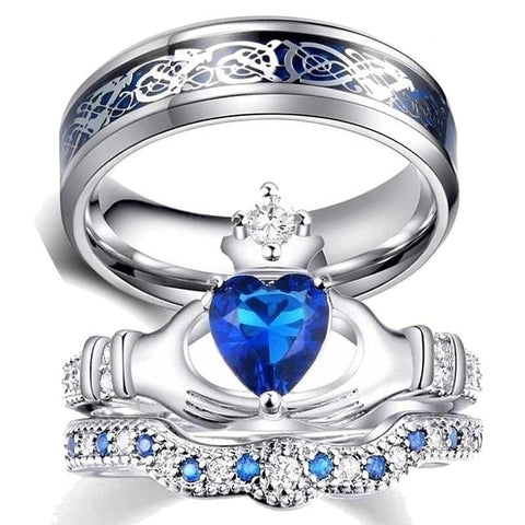 Blue Heart Claddagh Silver Dragon Stainless Ring Set