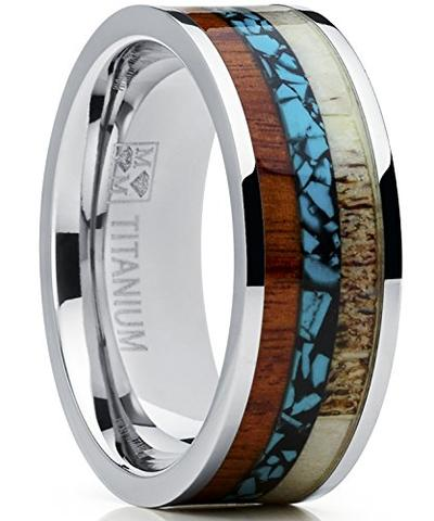 Deer Antler Koa Wood Turquoise Inlay Titanium Wedding Band