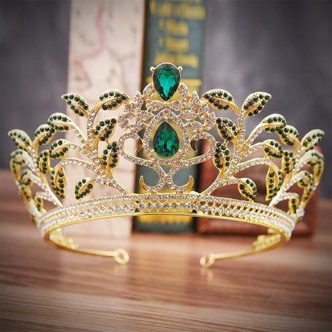 Luxury Baroque Leaf Crown with Zircon