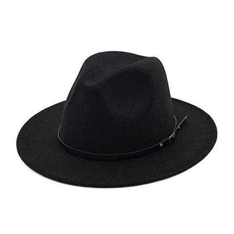 High Crown black Leather Belt Felt Fedora (11 Available Colors)