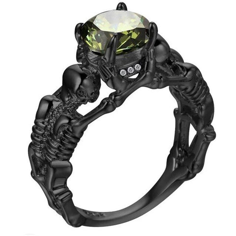 Round-Cut Colored Zirconia Skeleton Offering Goth Ring