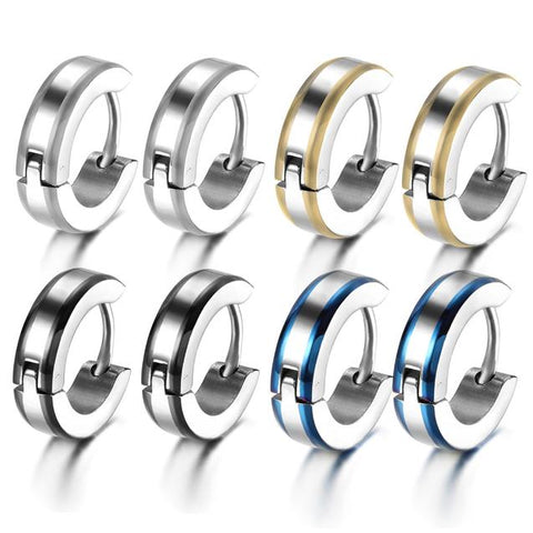 8PC Dual Tone Stainless Steel Huggie Earring Set For Men