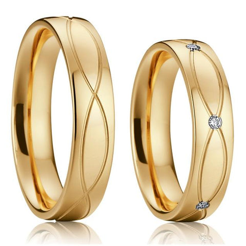 Infinity Groove Gold Stainless Steel Wedding Ring Set