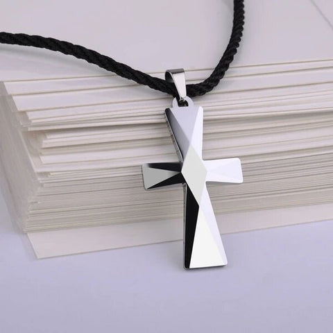 Tungsten Carbide Cross 3D Pendant Necklace