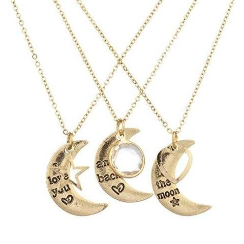 3 Piece Set Gold-tone I Love You to the Moon Necklace