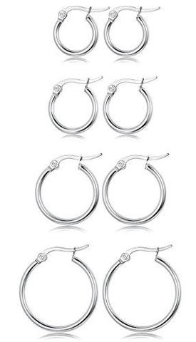 6-8 Pcs Set Different Sizes Stainless Steel Hypoallergenic Hoop Earrings