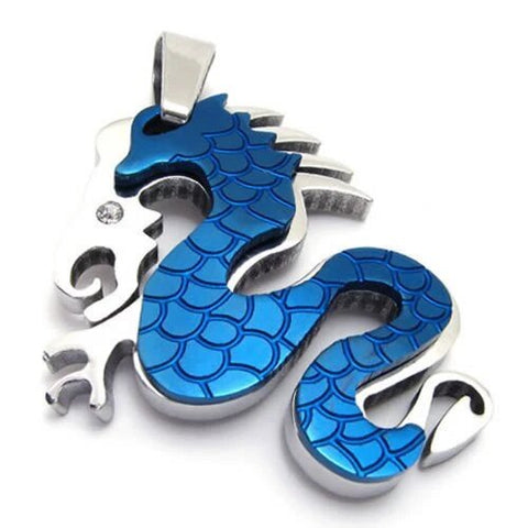 Two-tone Blue Silver Stainless Steel Dragon Pendant Necklace