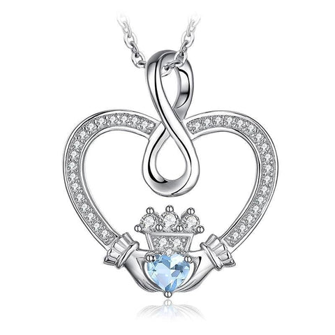 Infinity Knot Heart Claddagh Crystal Sterling Silver Necklace