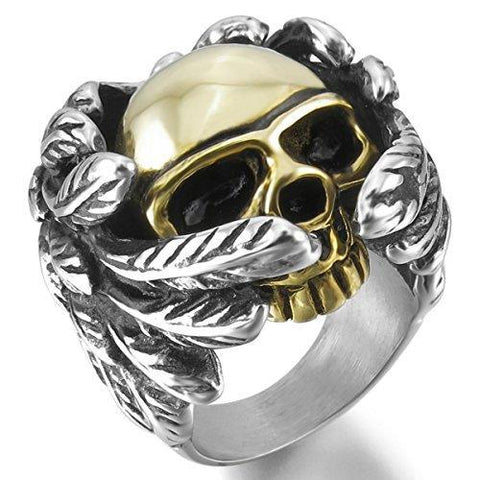 Winged Gold & Silver Skull Stainless Steel Ring
