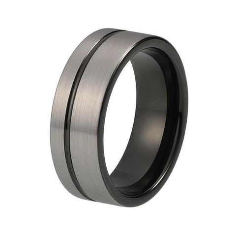Off-center Groove Silver & Black Tungsten Carbide Ring