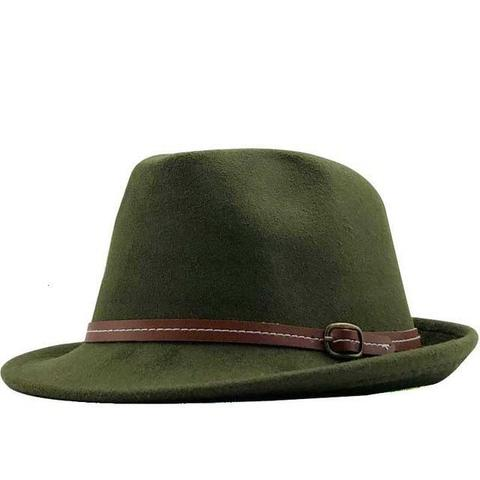 Vintage Sewn Brown Belt Hatband Felt Hat (9 Available Colors)