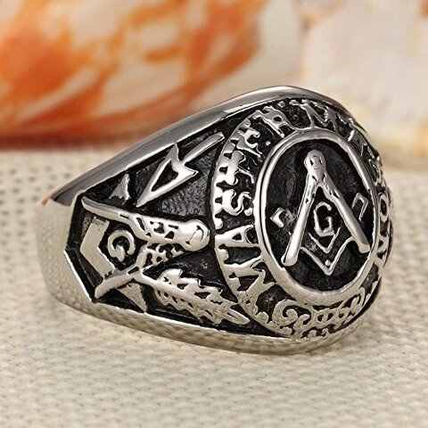 Men's Stainless Steel Silver and Black Retro Vintage Masonic Ring