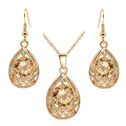 Gold Silver Colored Stainless Steel Crystal Earring Necklace Set
