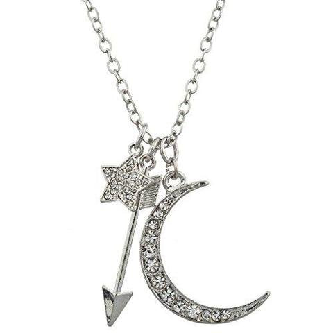 Silver-tone Pave Celestial Star Moon Arrow Charm Necklace