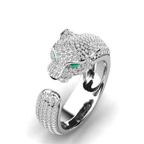 316L Stainless Steel Iced Leopard Open Ring