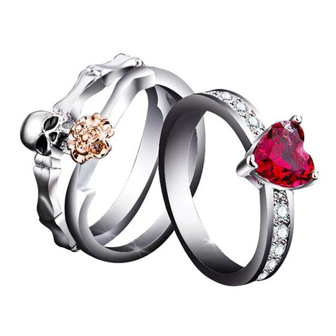 3PC Set Flower Skull Red CZ Slim Engagement Band