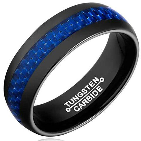 Vintage Black Tungsten Carbide Ring Blue Carbon Fiber Wedding Band