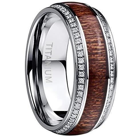 Hawaiian Koa Wood Cubic Zirconia Titanium Wedding Band