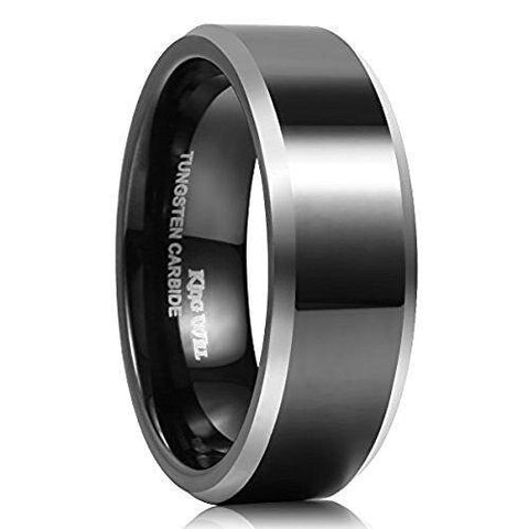 Black Silver Traditional Tungsten Carbide Ring Wedding Band