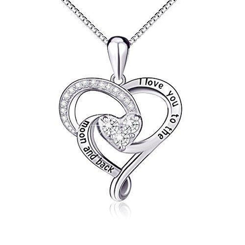 Crystal Double Heart Sterling Silver Necklace