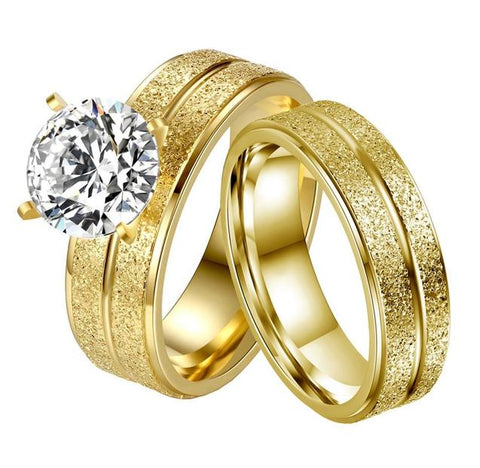 2PC Four Prong Zirconia Sandblasted Gold Tone Stainless Steel Ring Set