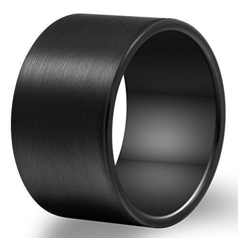 14mm Brushed Pipe Cut Black Tungsten Ring