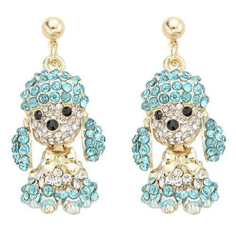 Cute Crystal Pave Poodle Dangle Earrings