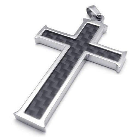 Stainless Steel and Carbon Fiber Black Cross Pendant Necklace