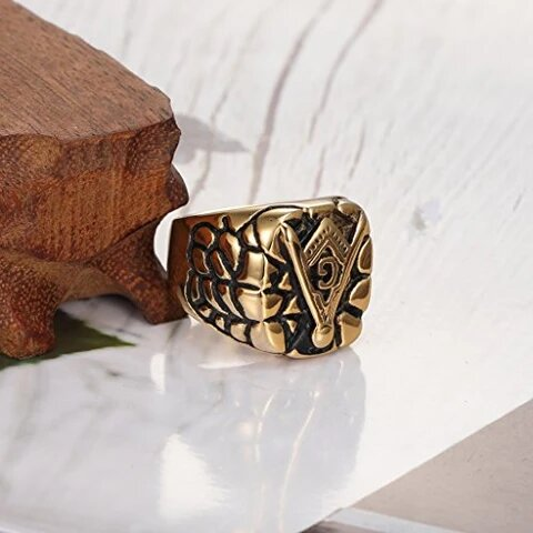 Vintage Stainless Steel Gold Plated Masonic Ring