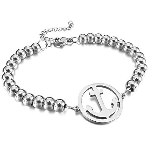 Stainless Steel Bracelet Link Wrist with an Anchor Nautical Ball