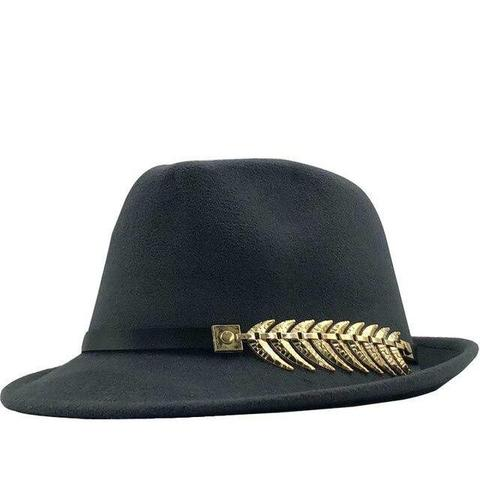 Gold-Plated Fern Leaf Wool Trilby Hat (9 Available Colors)