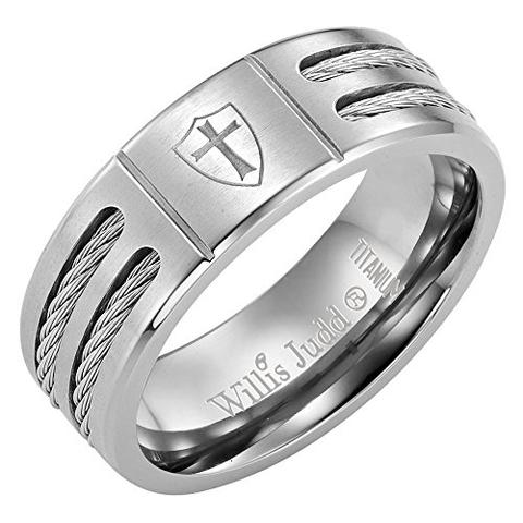 Men's Knights Templar Shield Cable Rope Titanium Ring