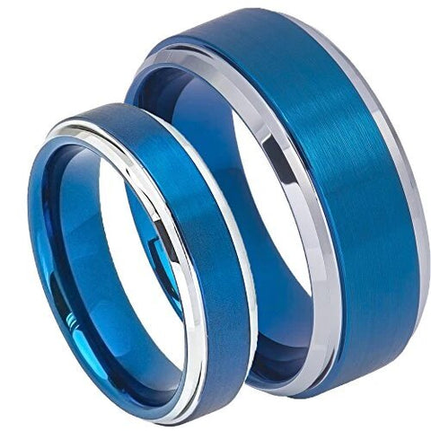 Step Edge Blue Tungsten Carbide Wedding Ring Set